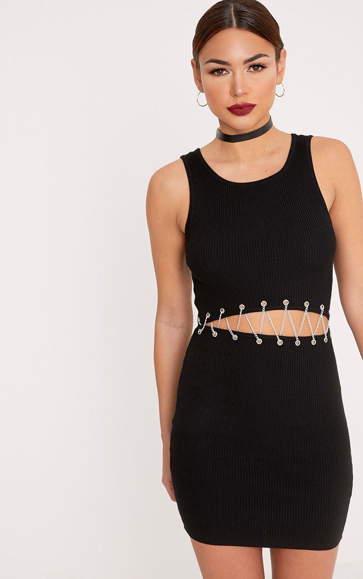 Presleigh Black Chain Detail Knitted Mini Dress
