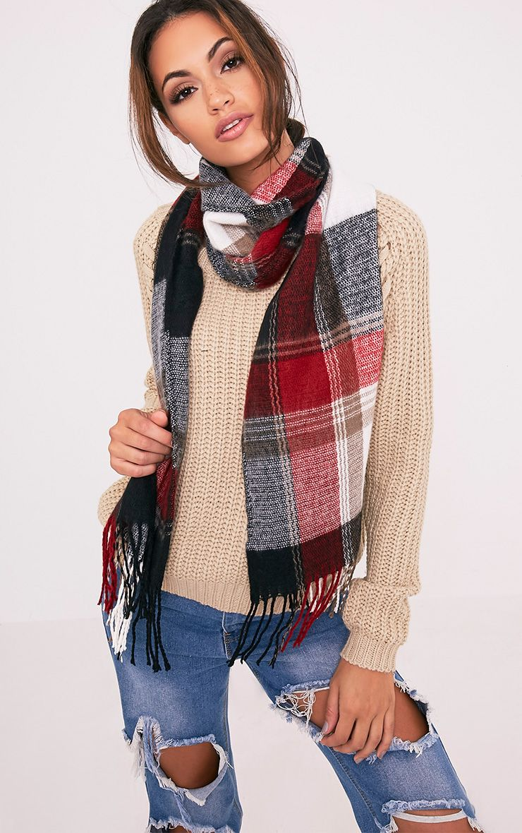 Bea Red Check Scarf