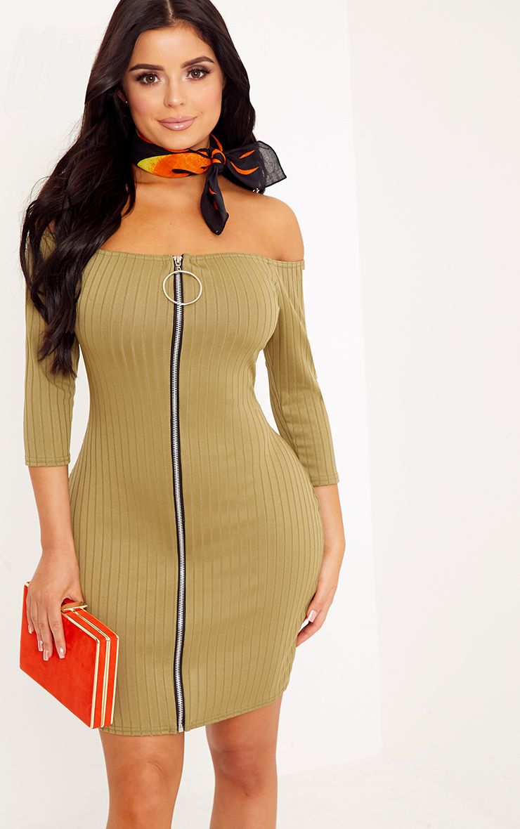 Shape Kylee Khaki Ribbed Bardot O-Ring Dress