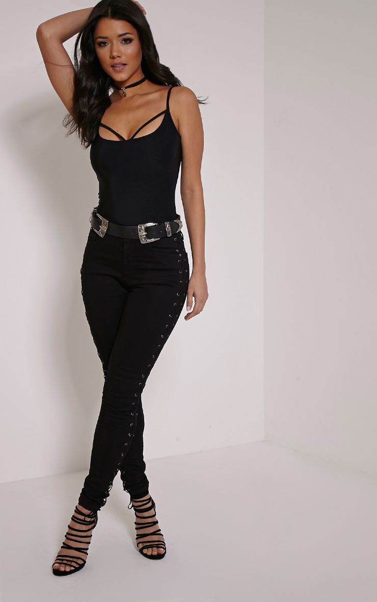 Alida Black Lace Up Side Jean 1