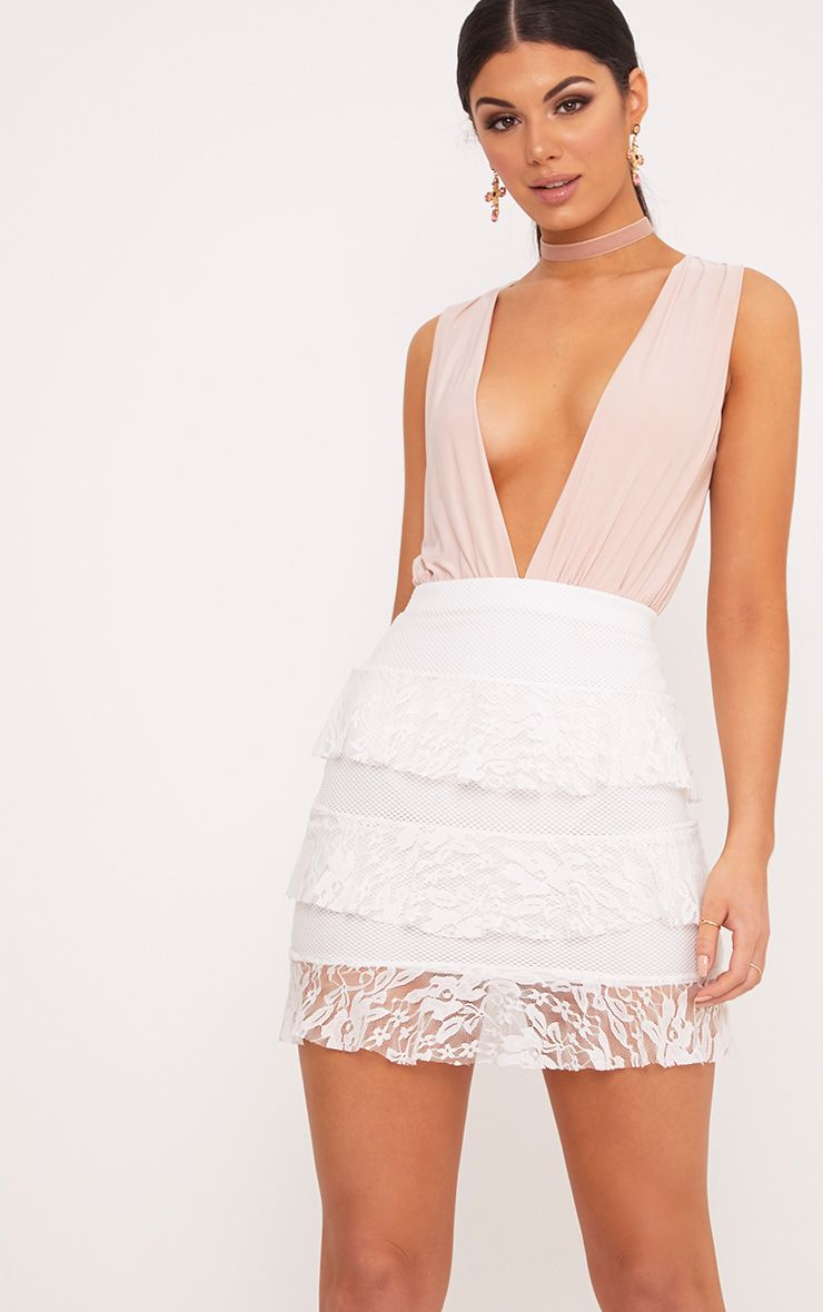 Rosanna Ivory Tiered Lace Mini Skirt