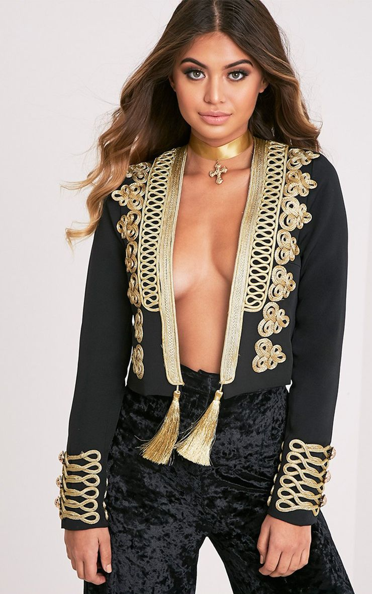 Cecilie Black Embroidered Crop Trophy Jacket
