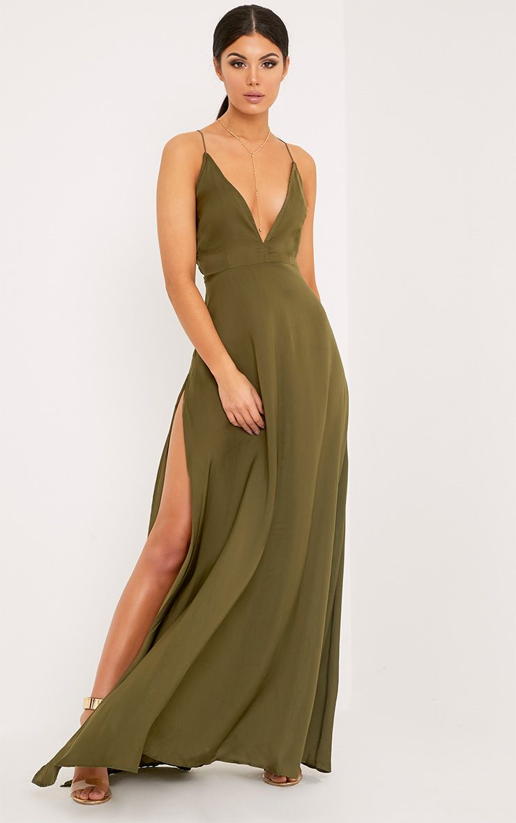 Beccie Khaki Extreme Split Strappy Back Maxi Dress