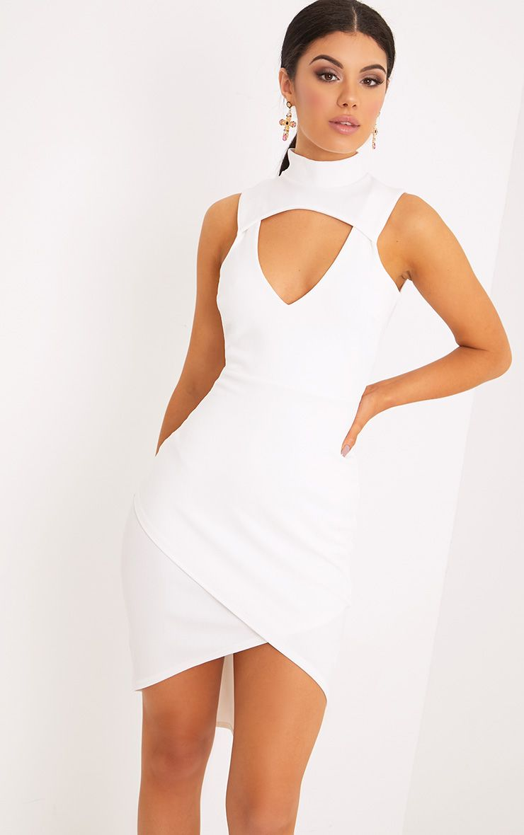 Hallee White High Neck Cut Out Midi Dress