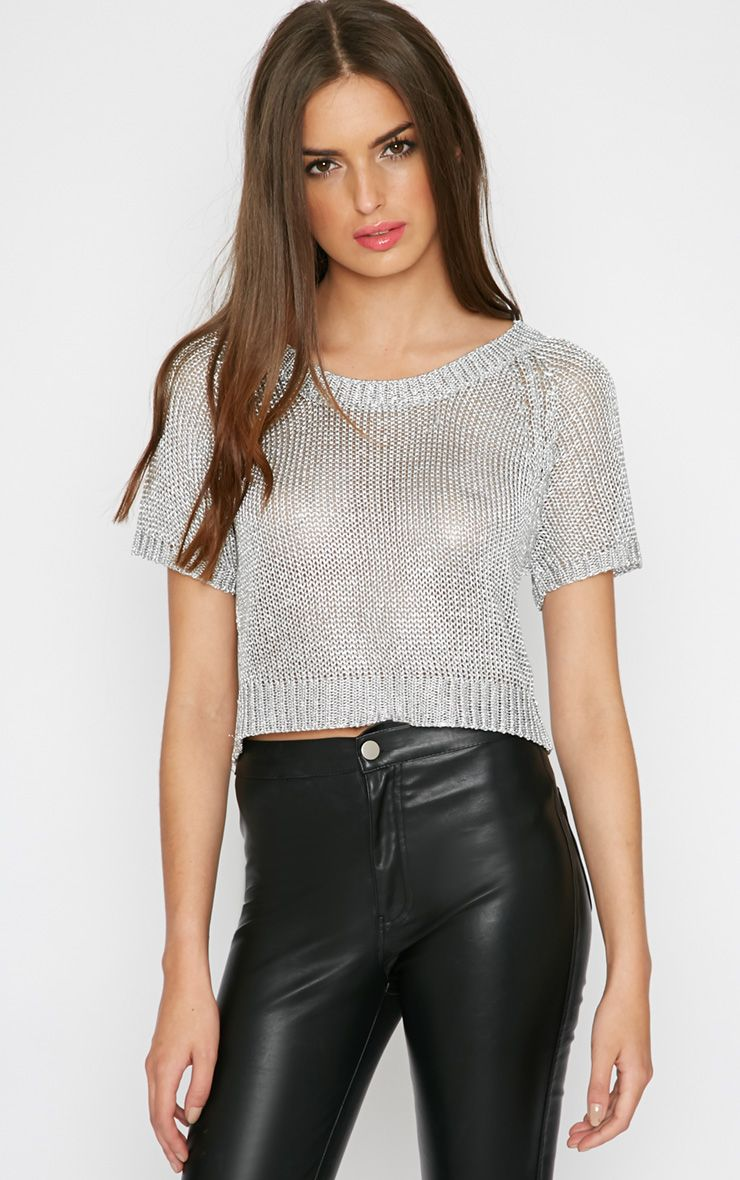Willa Silver Knitted Cropped Jumper 1