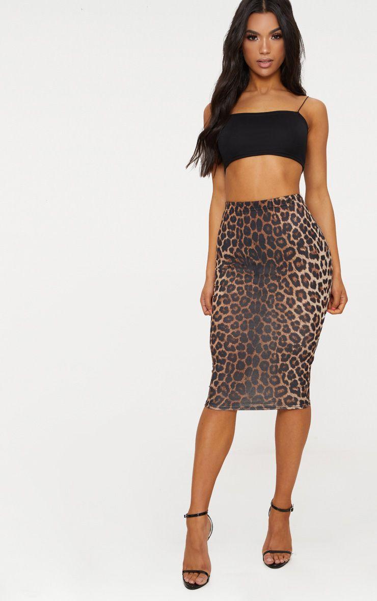 Tan Leopard Print Midi Skirt