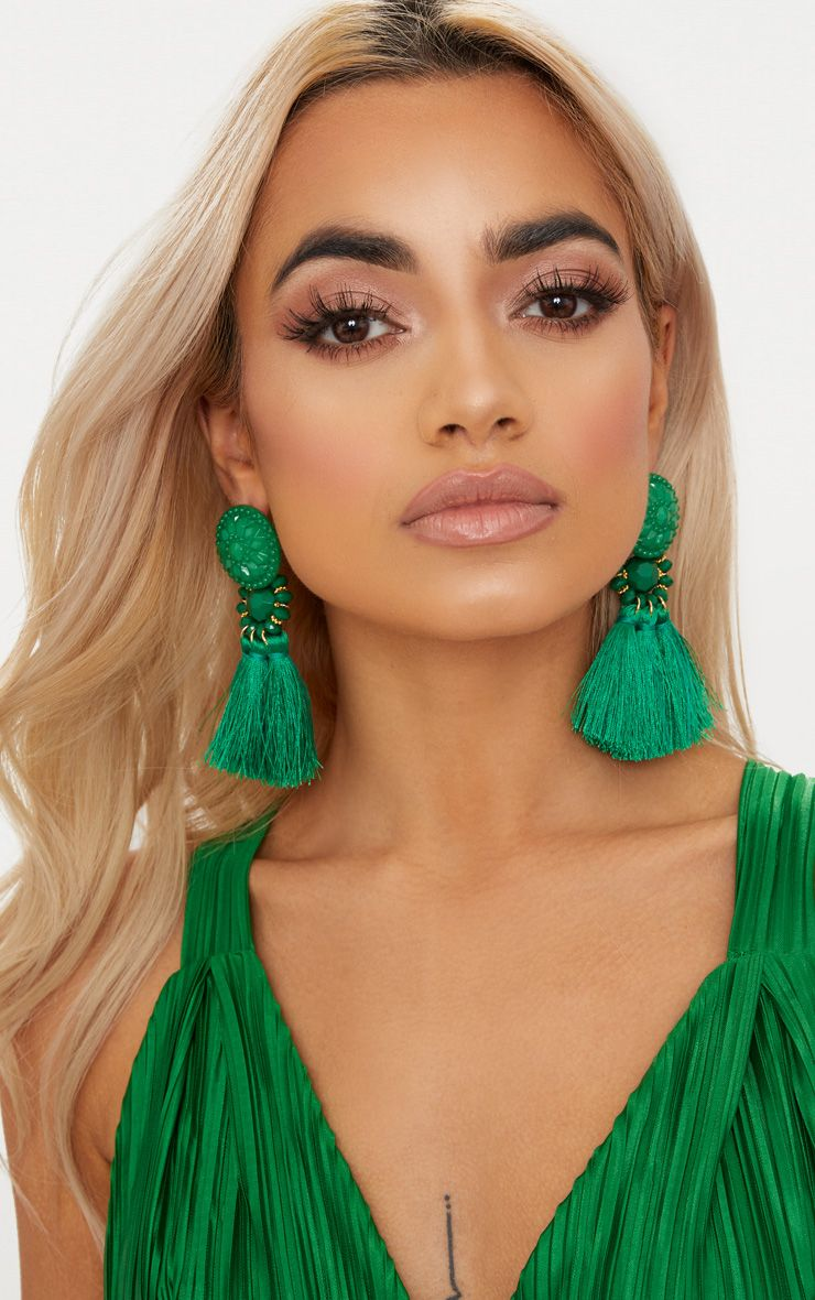 Bright Green Acrylic Bead Tassel Earrings 1
