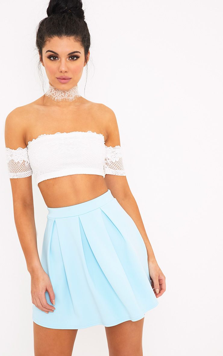 Rosabela Baby Blue Box Pleat Skater Mini Skirt