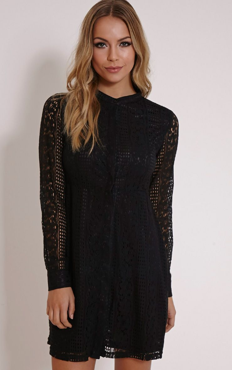 Maisi Black Long Sleeve Lace Shirt Dress 1