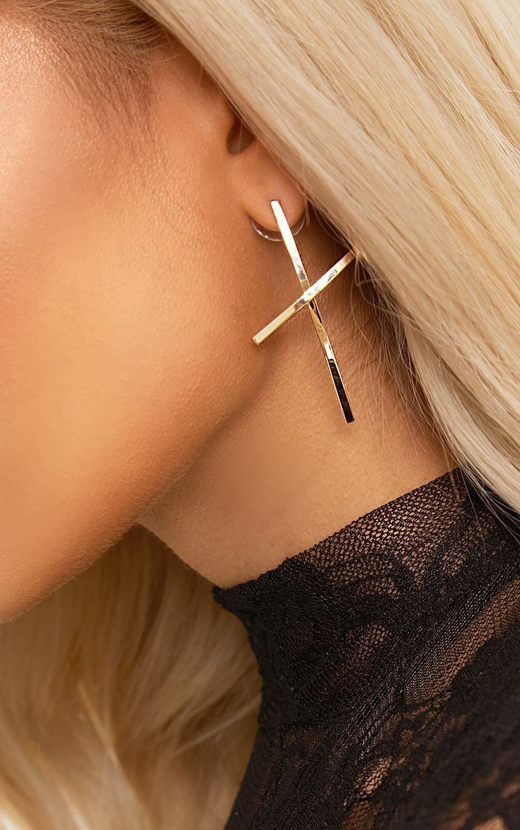 Gold Extended Cross Earrings