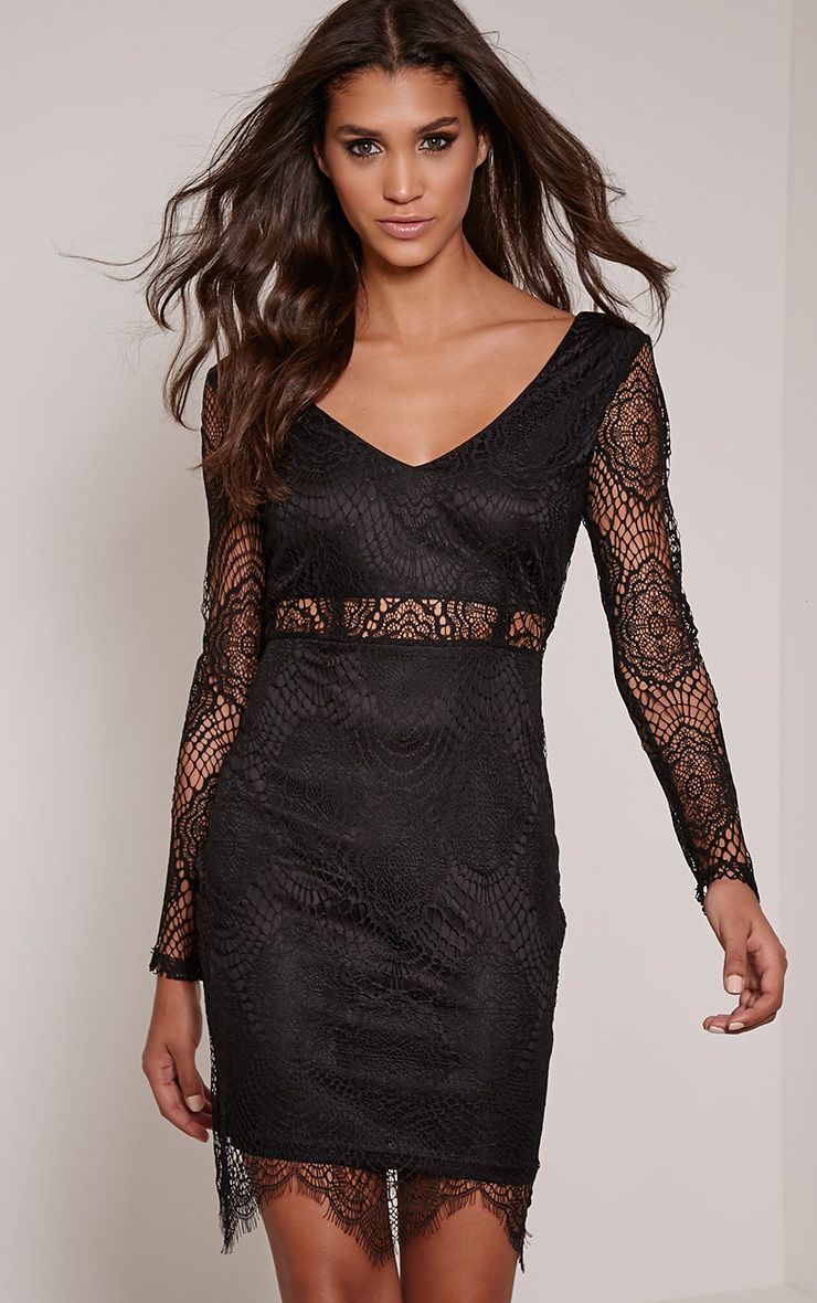 Lynda Black Scalloped Lace Midi Dress 1