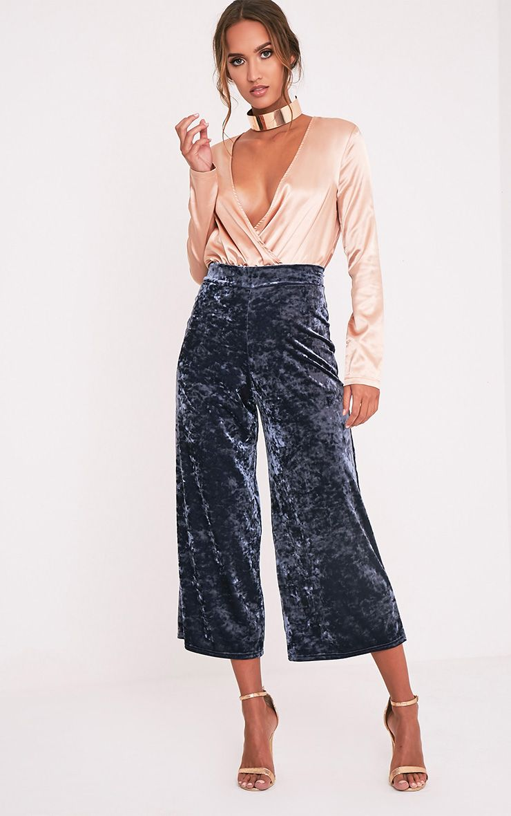 Soraya Grey Crushed Velvet Culottes