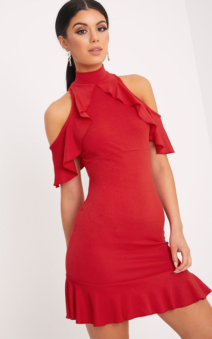 Adley Red Frill Detail Crepe Bodycon Dress