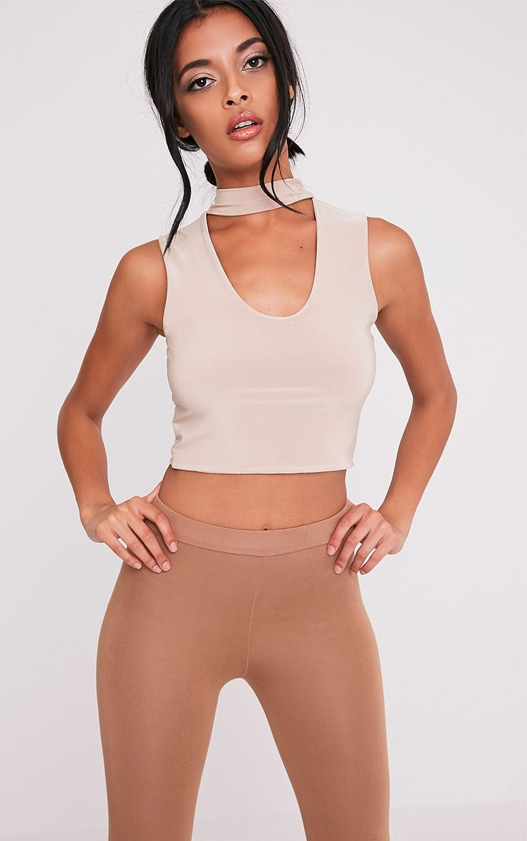Melrose Nude Cut Out Neck Slinky Crop Top 1