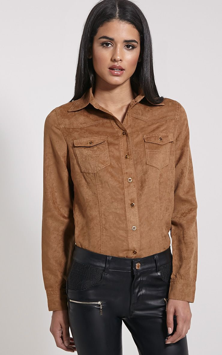 Asha Tan Faux Suede Fitted Shirt 1