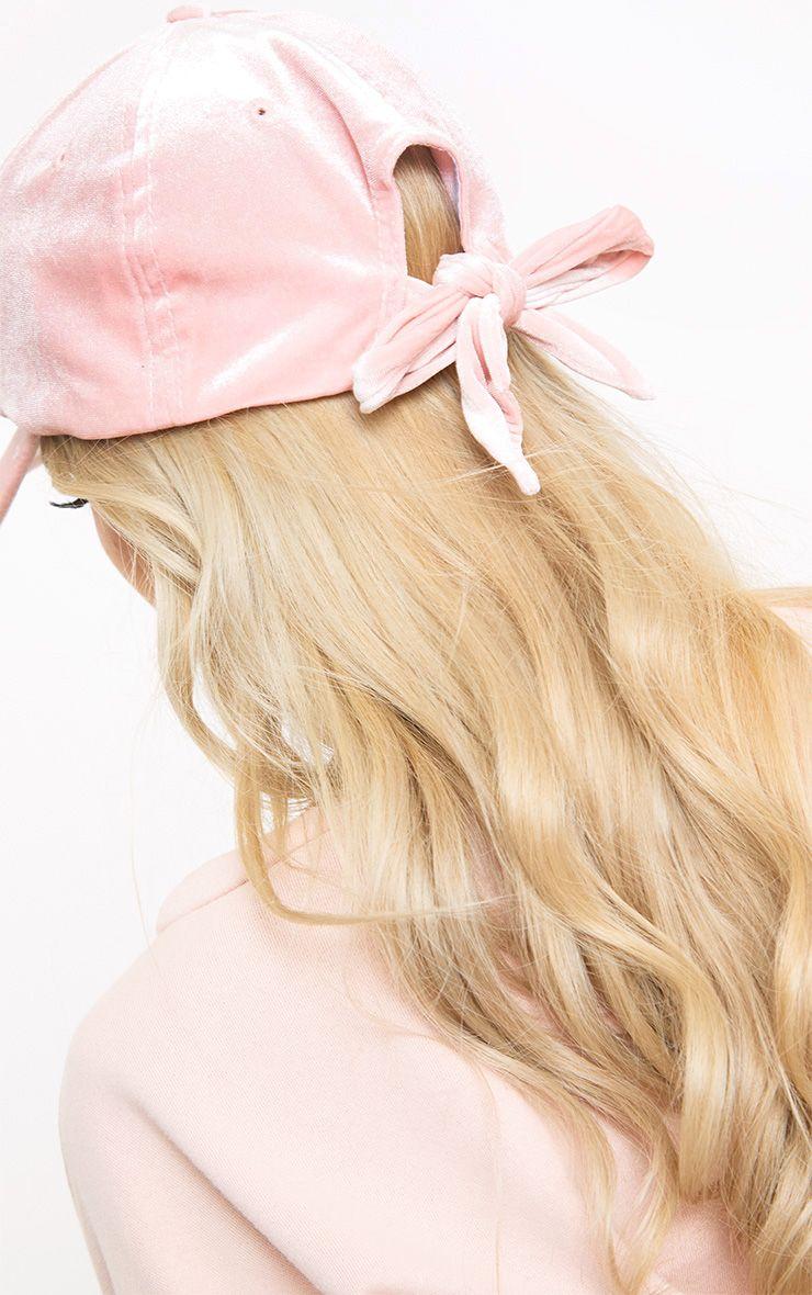 Pink Velvet Bow Back Cap