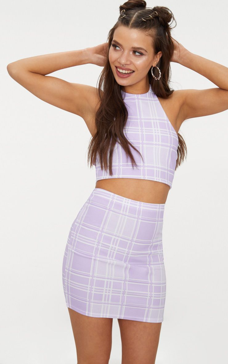 Lilac Check Print Halterneck Crop Top