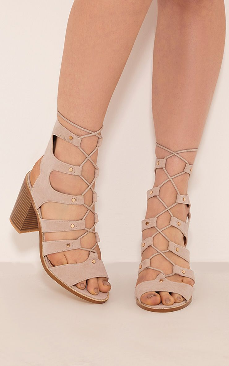 Moni Nude Faux Suede Lace Up Sandals 1