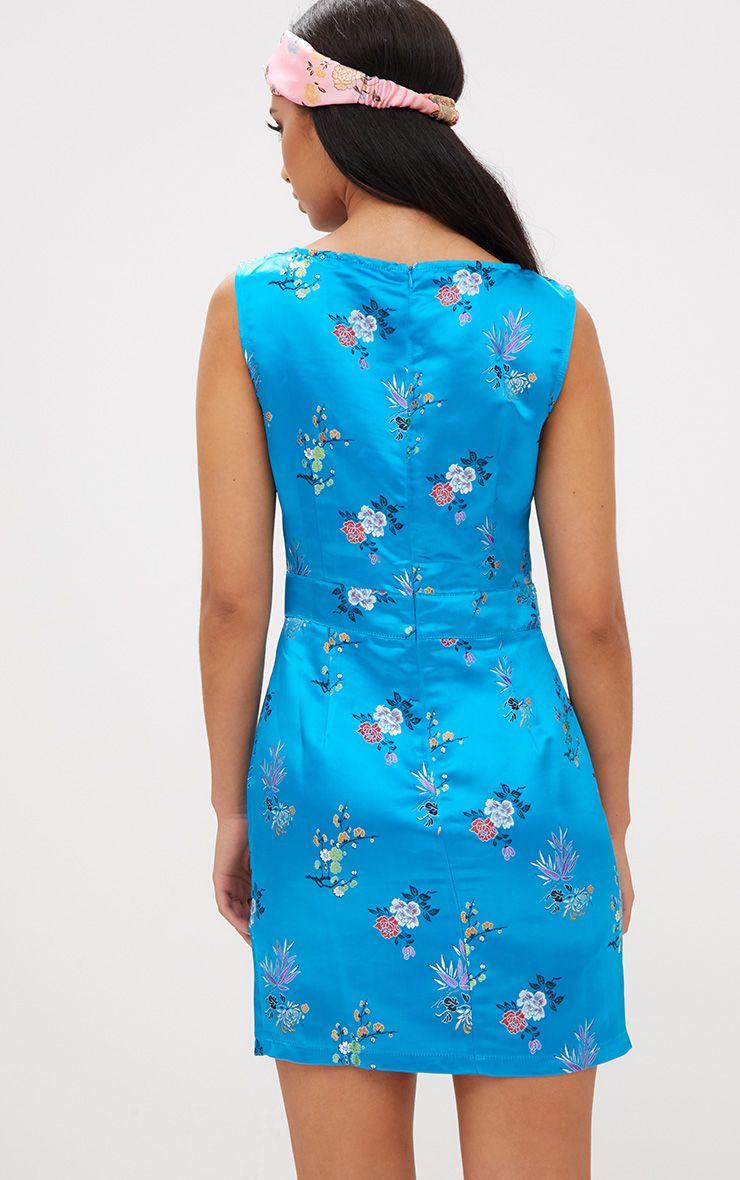 Turquoise Satin Dress