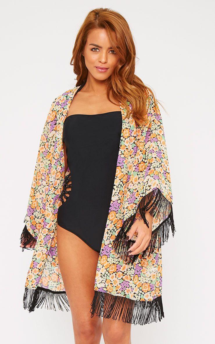 Belinda Multi Floral Tassel Kimono  1