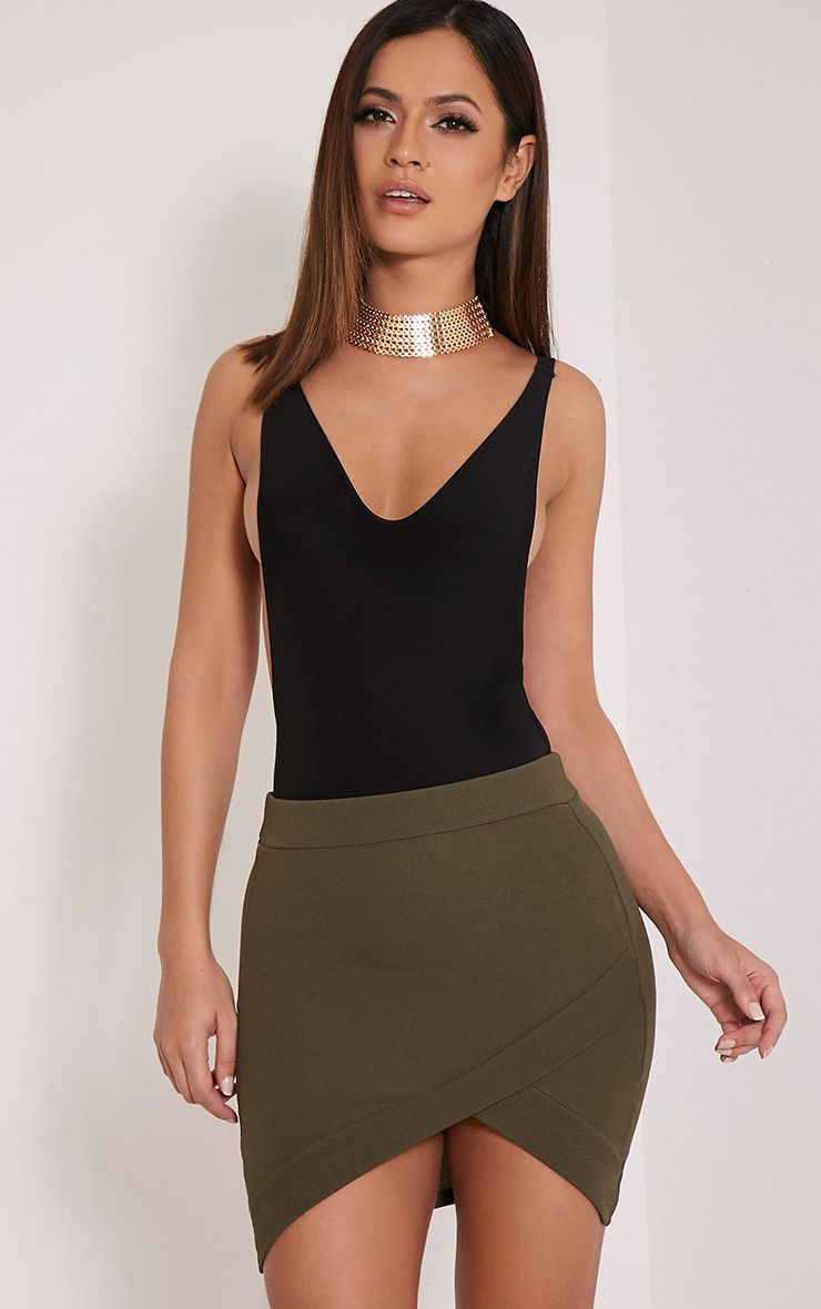 Gabriella Khaki Asymmetric Mini Skirt