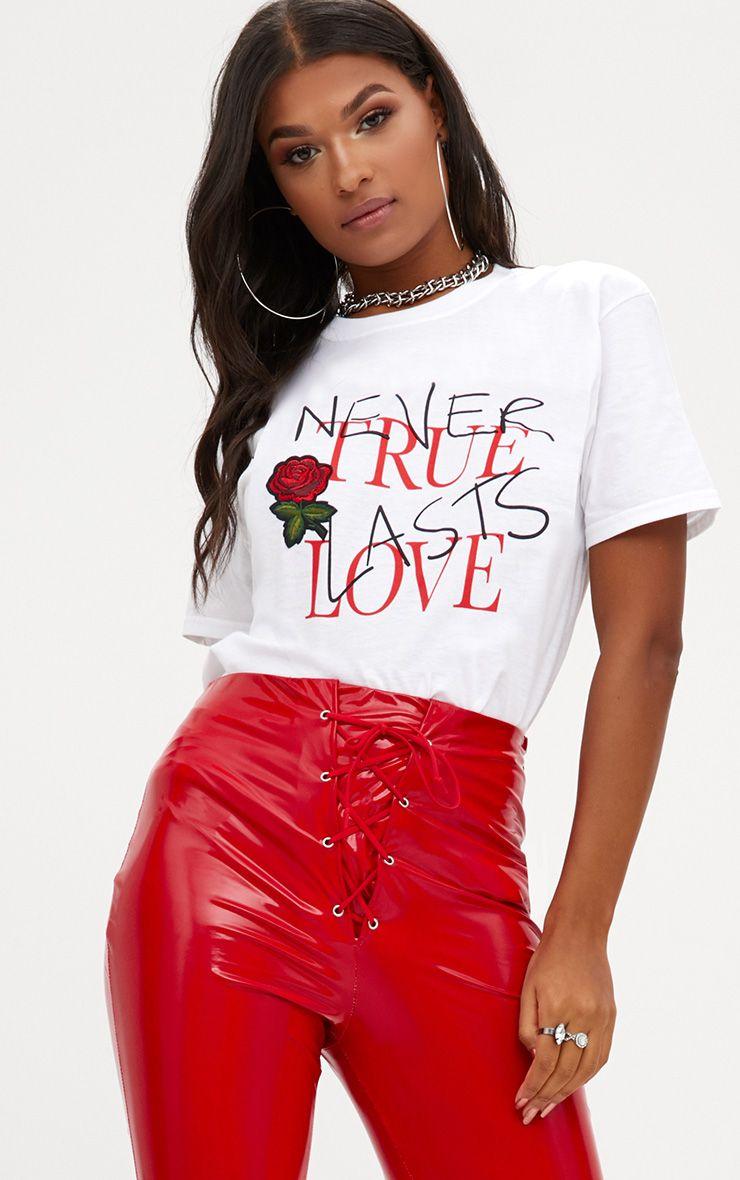 White True Love Applique Slogan T Shirt