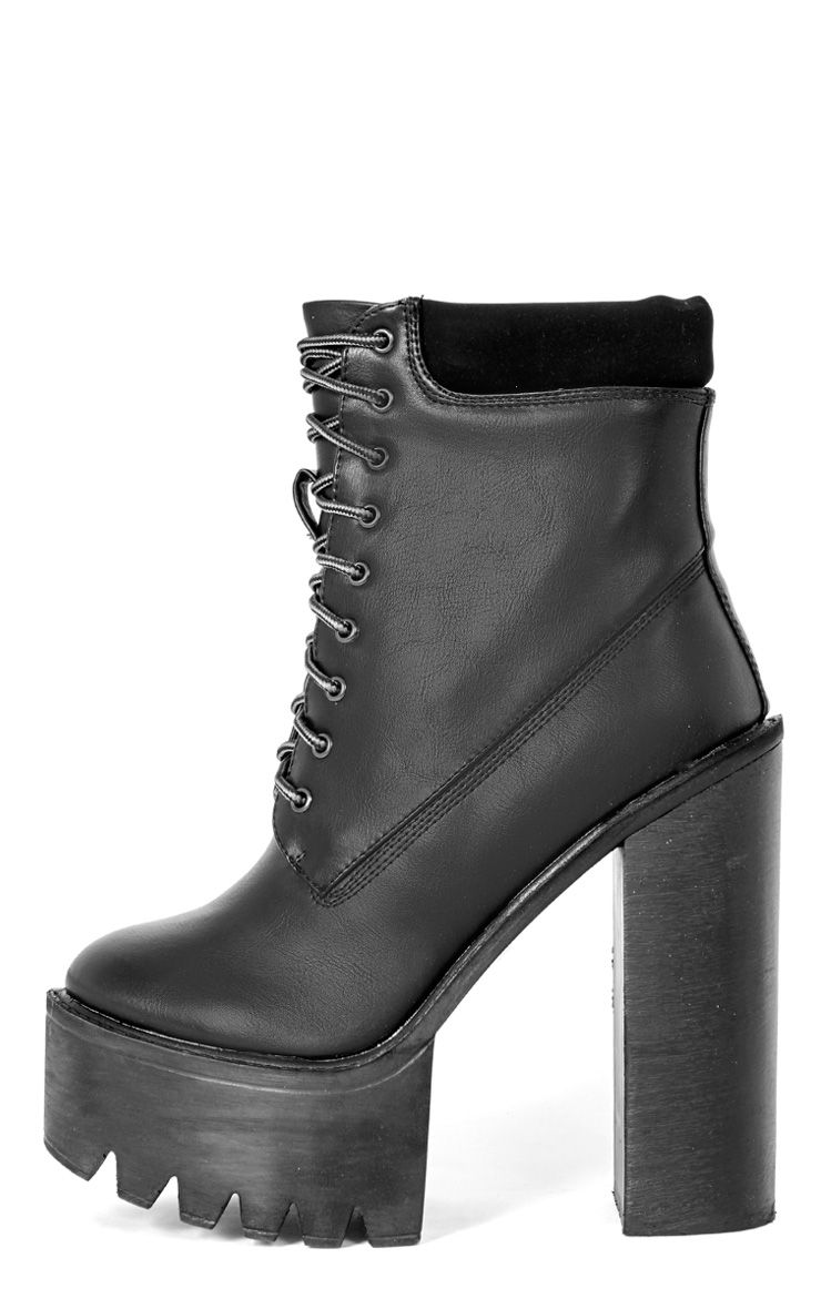Imani Black Lace Up Cleated Heel Boot 1