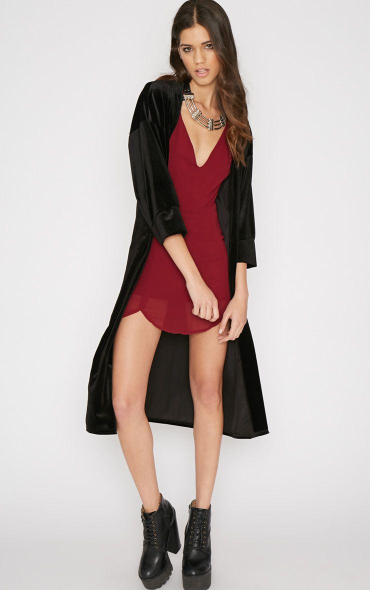 Aria Black Velvet Longline Kimono  1
