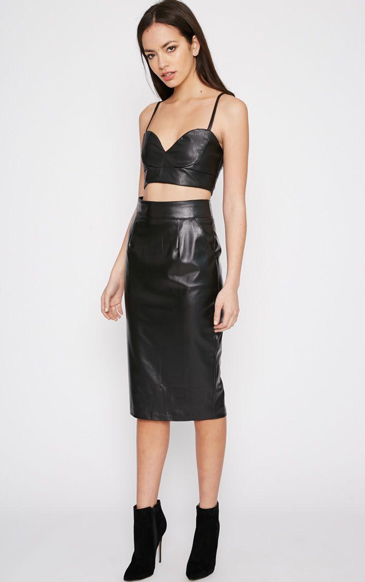 Imogen Black Leather Midi Skirt 1
