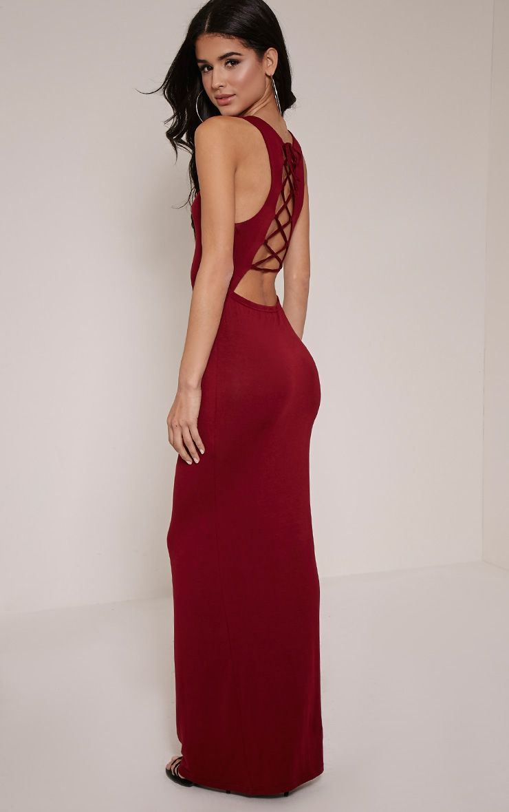 Jamaia Burgundy Lace Up Back Maxi Dress 1