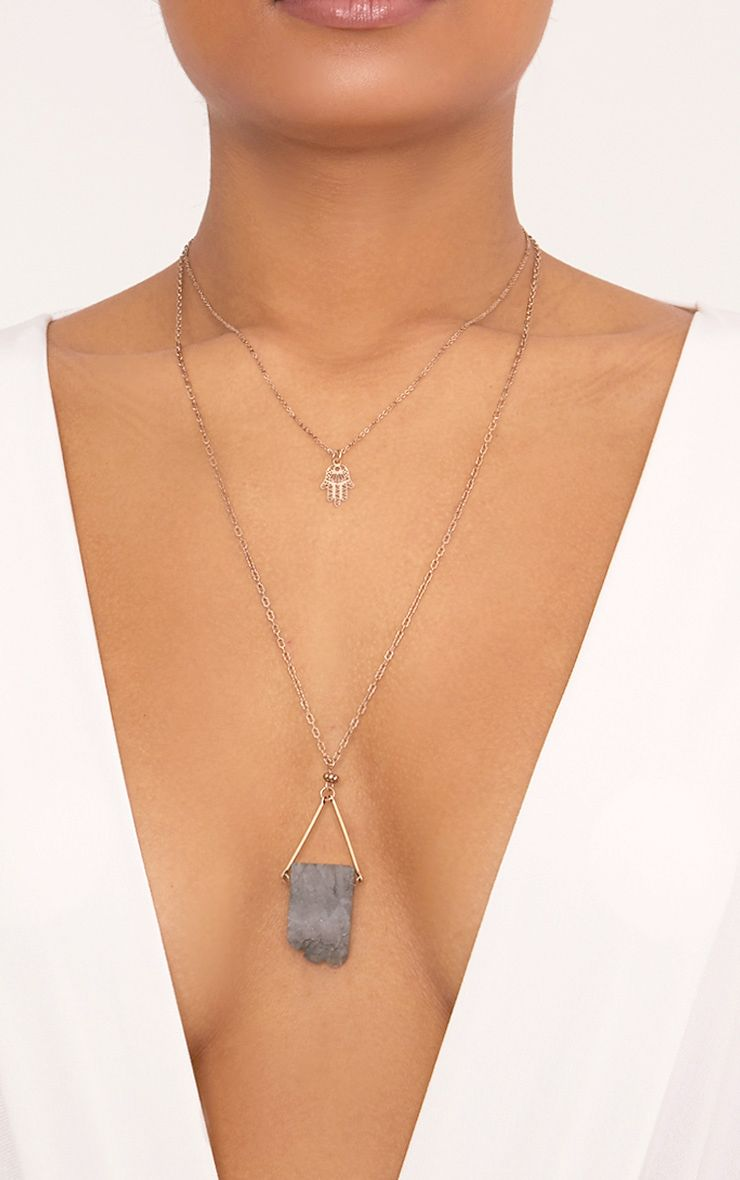 Vila Lilac Crystal Rock Layered Pendant