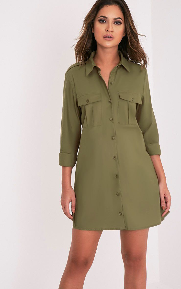 Francessca Khaki Utility Shirt Dress 1