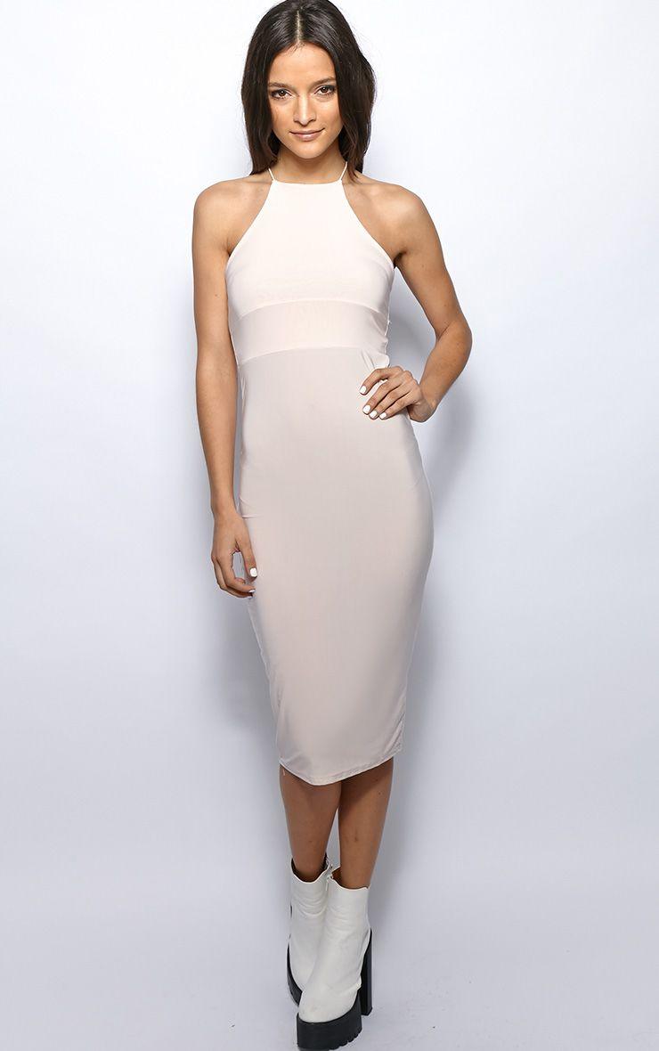 Michelle Nude Lurex Bodycon Dress 1