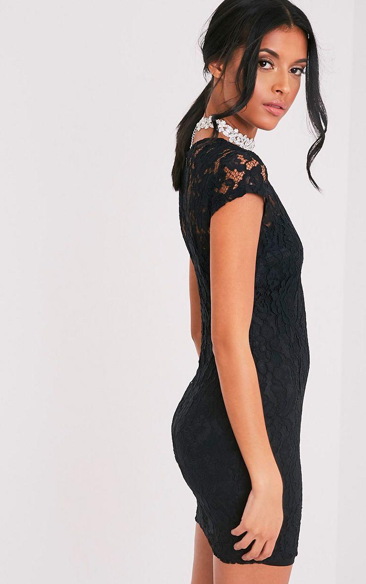 Natasha robe moulante noire en dentelle à manches courtes 4