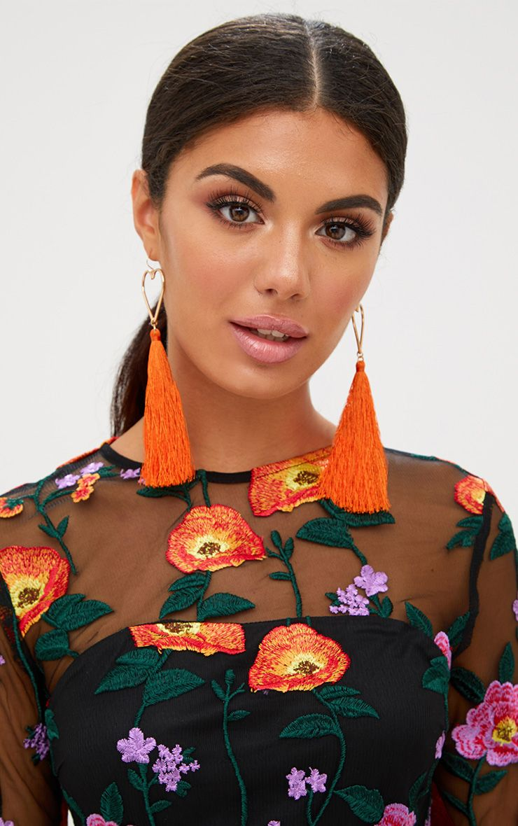 Orange Heart Tassel Earrings
