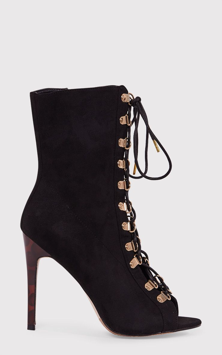 Elina Black Lace Up Open Toe Ankle Boots