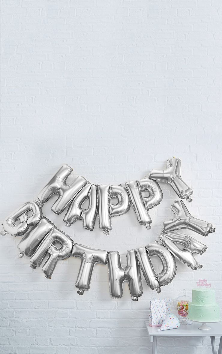 Silver Happy Birthday Balloon Bunting