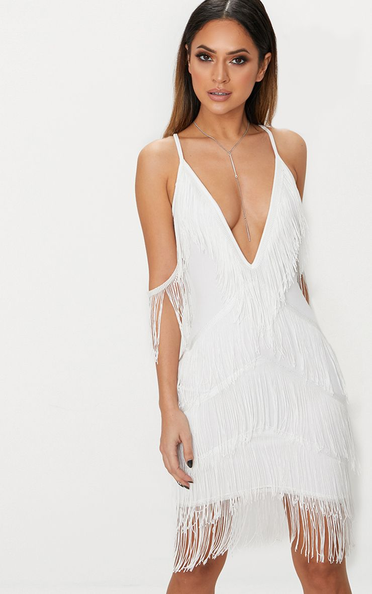 White Tassel Detail Plunge Bodycon Dress