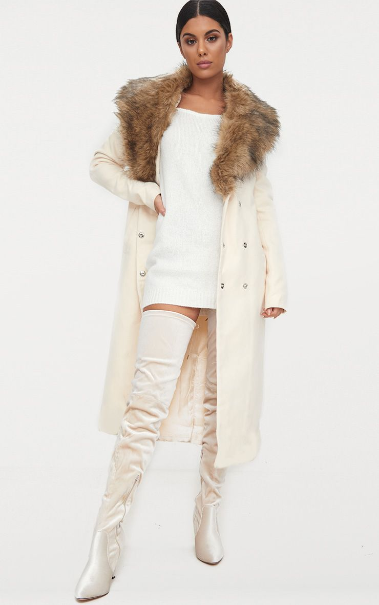 Cream Faux Fur Collar Double Breasted Coat