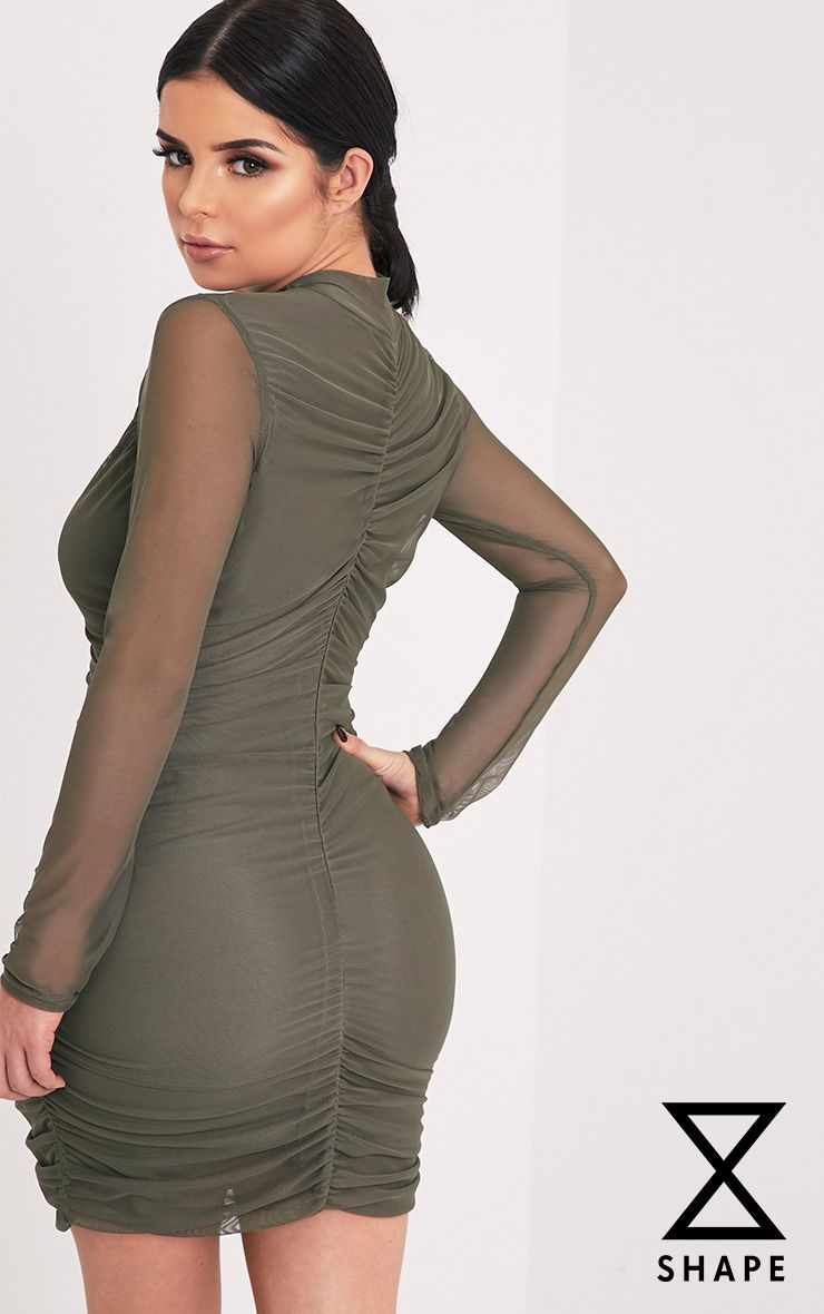 Shape Esemay Khaki Mesh Ruched Mini Dress