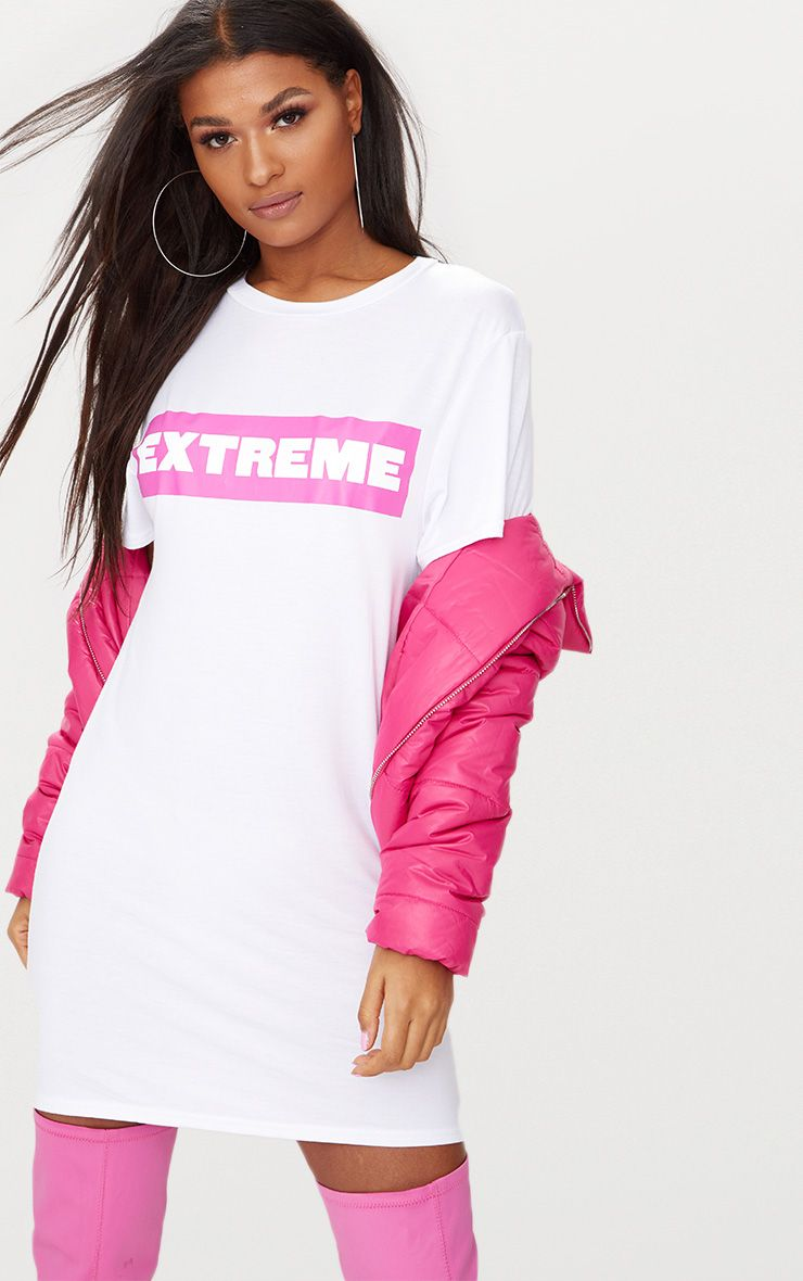 'Extreme' White T Shirt Dress