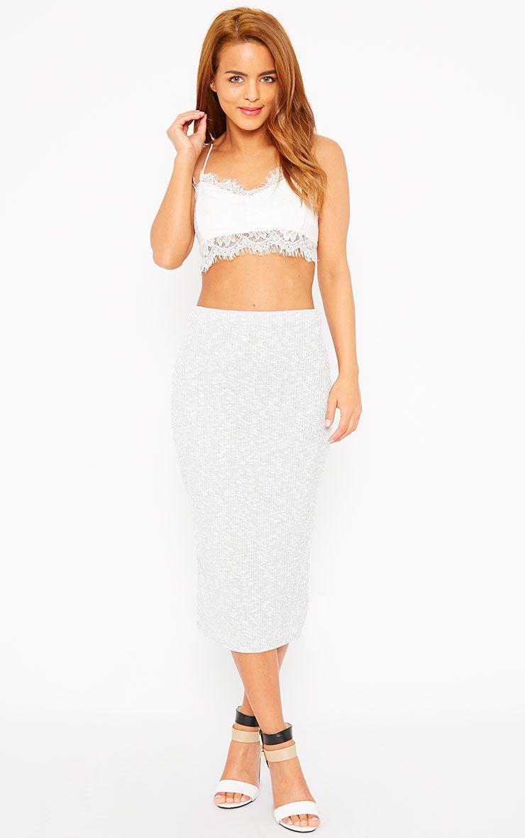 Basic Grey Ribbed Skirt 1