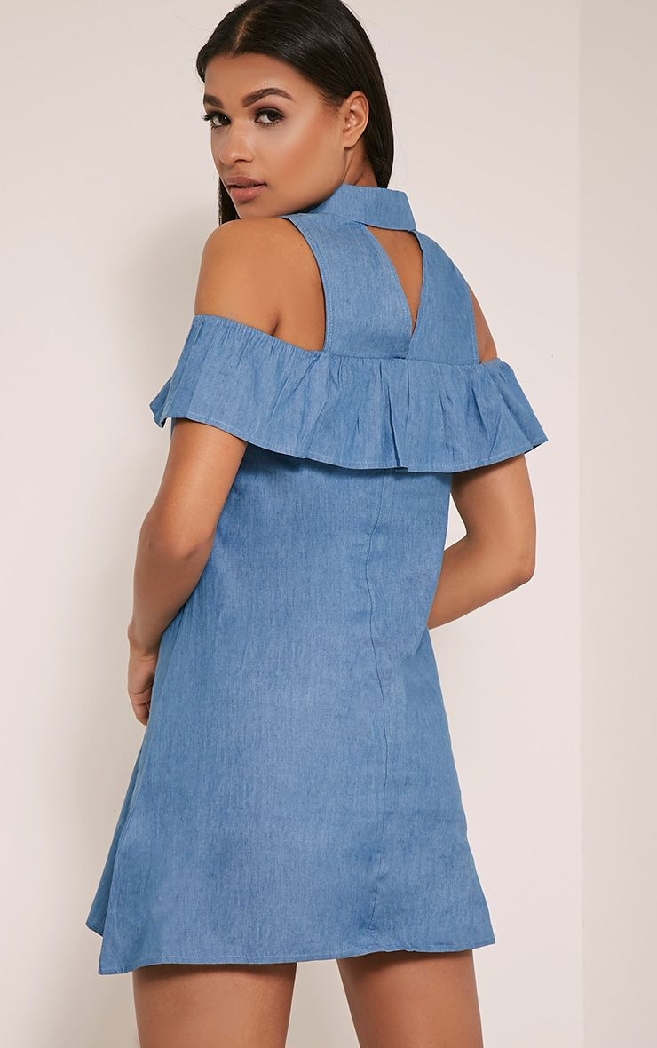 Dahlia Light Wash Frill Detail Denim Feel Dress 1