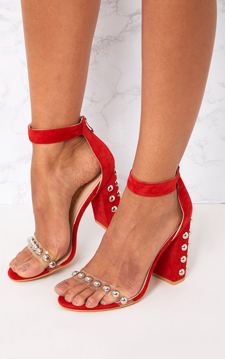 Red Round Studded Faux Suede Block Heels
