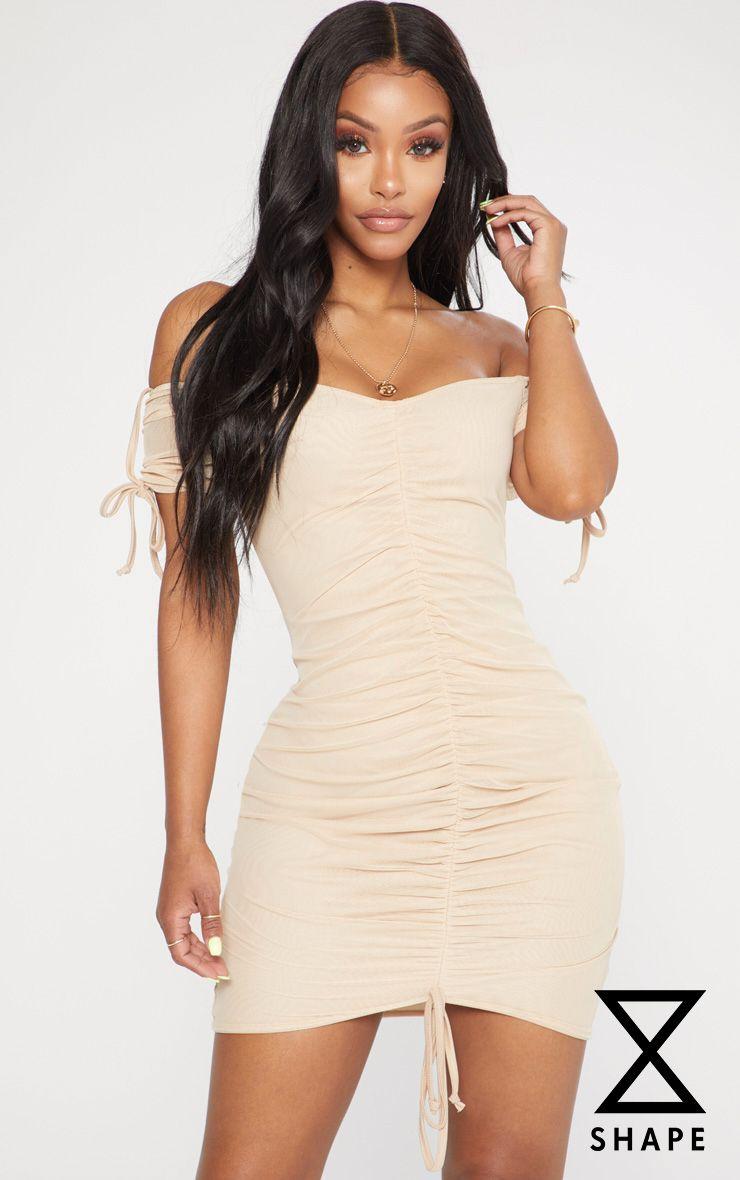 2ae210c2d4 shape-stone-ruched-mesh-bardot-bodycon-dress by prettylittlething