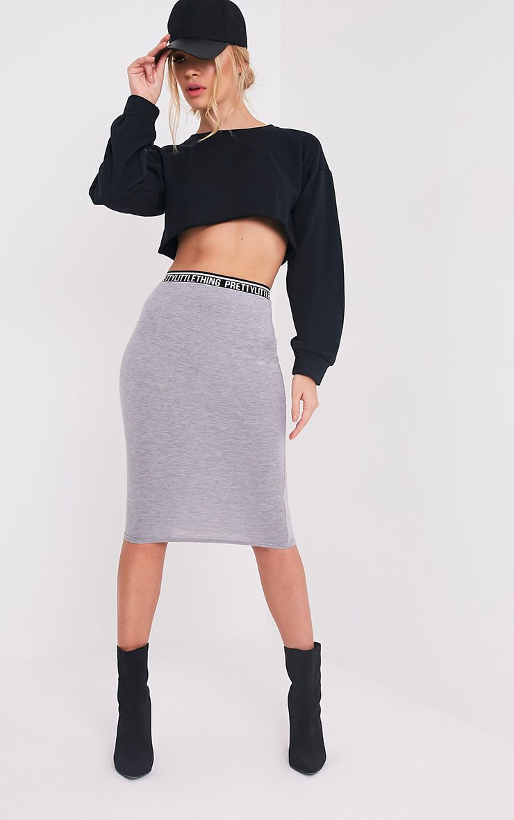 PrettyLittleThing Grey Midi Skirt