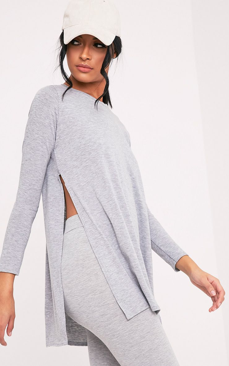 Basic Grey Long Sleeve Side Split Top