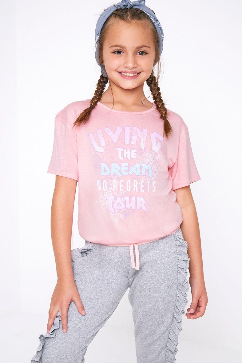 T-shirt rose imprimé à ourlet bouffant