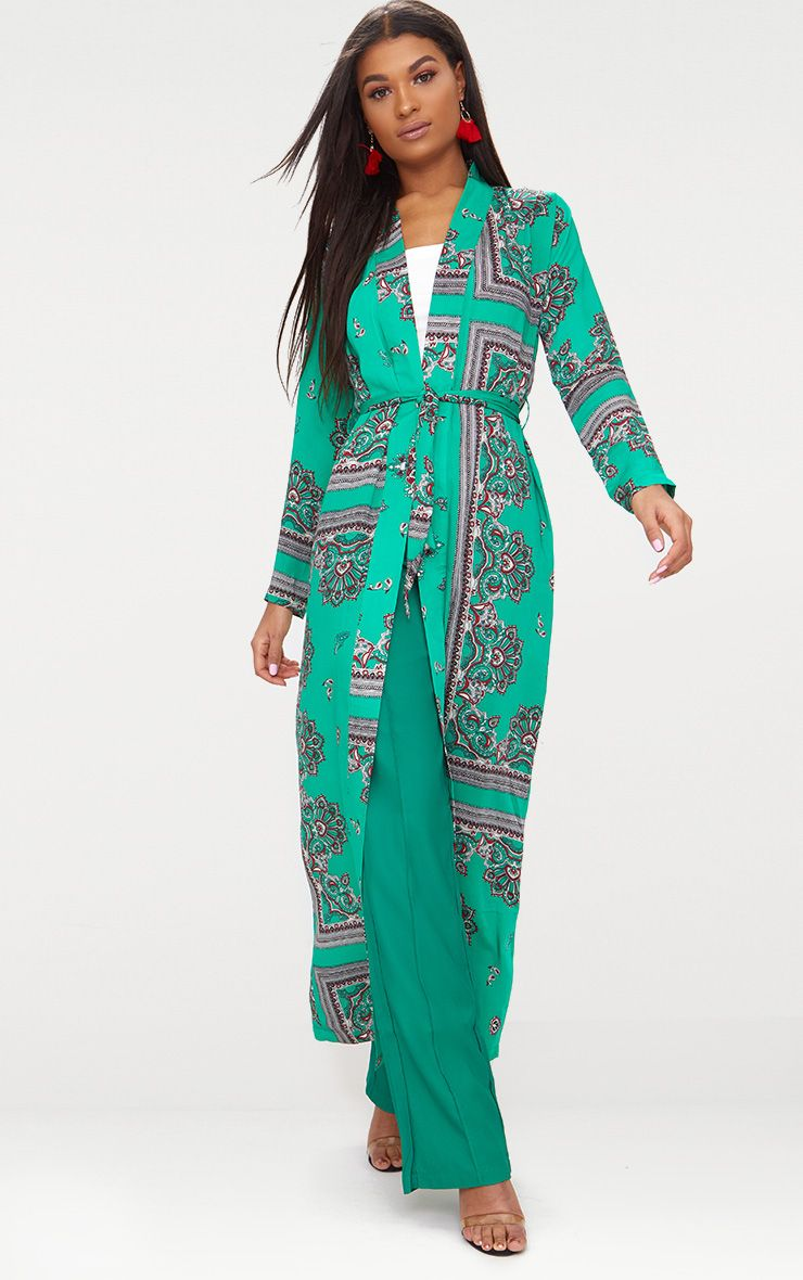Green Silky Paisley Duster Coat
