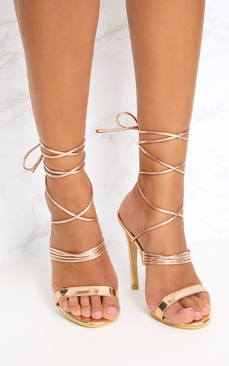 Rose Gold Thin Strappy Lace Up Heels Shoes